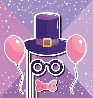 Bonnet et moustache avec ballons à joyeux anniversaire