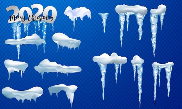 Bonnets de neige, boules de neige et congères. collection de vecteur de chapeau de neige. décoration d'hiver