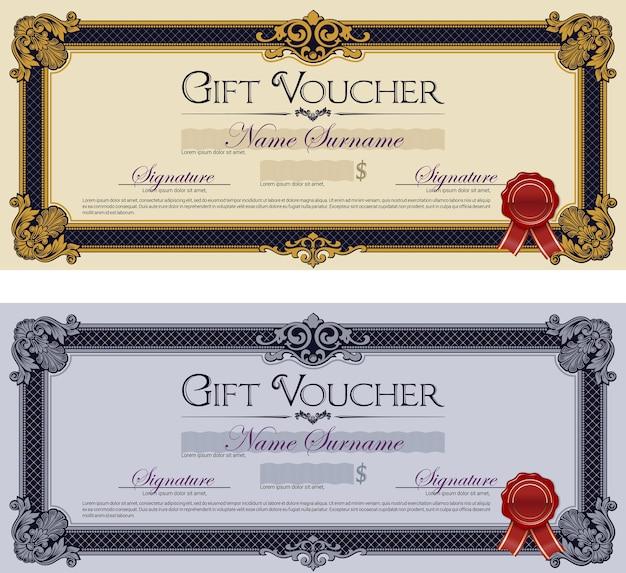 Bons cadeaux avec ornements. ensemble de deux chèques-cadeaux vintage.