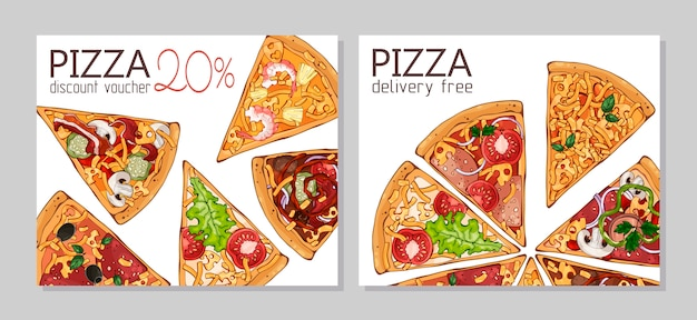 Bons de réduction. modèle pour les produits publicitaires: pizza.