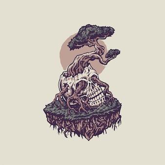 Bonsaï poussant à partir d'un crâne humain, style de ligne dessiné à la main avec couleur numérique