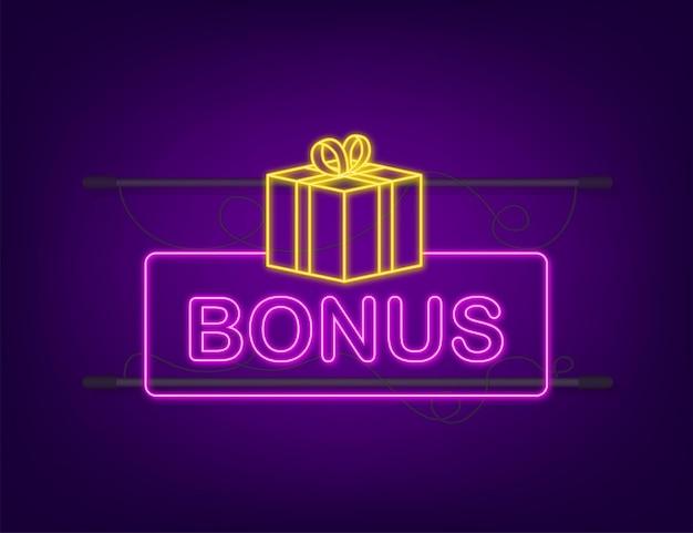 Bonus pour la conception de la promotion. icône néon. modèle de promotion de bannière de remise. modèle web pour la conception de promotions marketing. illustration vectorielle de stock.