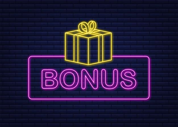 Bonus pour la conception de la promotion icône néon modèle de promotion de bannière de remise