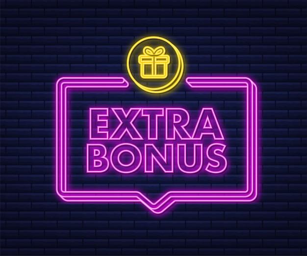 Bonus supplémentaire pour la conception de la promotion icône néon modèle de promotion de bannière de remise