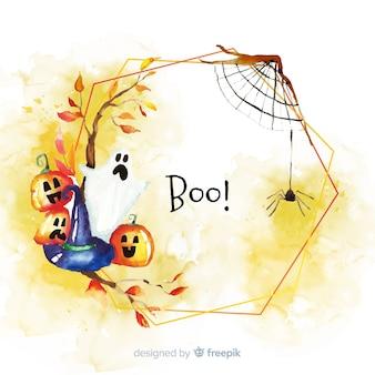 Boo concept de cadre d'halloween à l'aquarelle
