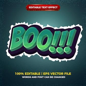 Boo halloween effet de texte modifiable dessin animé jeu comique modèle de style 3d