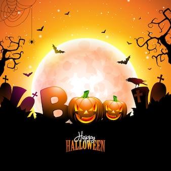 Boo, happy halloween design avec lettrage typographique