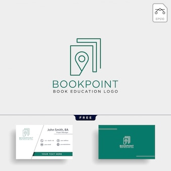 Book pin marker ou carte de navigation logo simple ligne