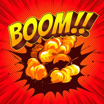 Boom comic speech modèle fond coloré.