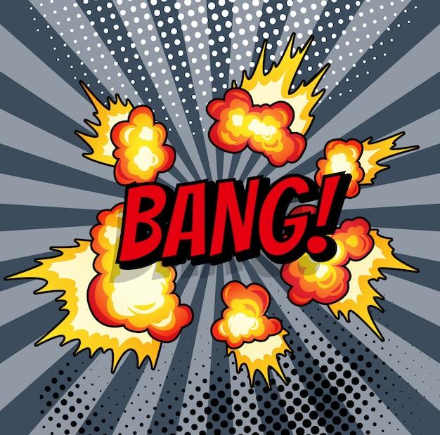 Boom. explosion de bande dessinée bang sur fond rayé de rayon de soleil.