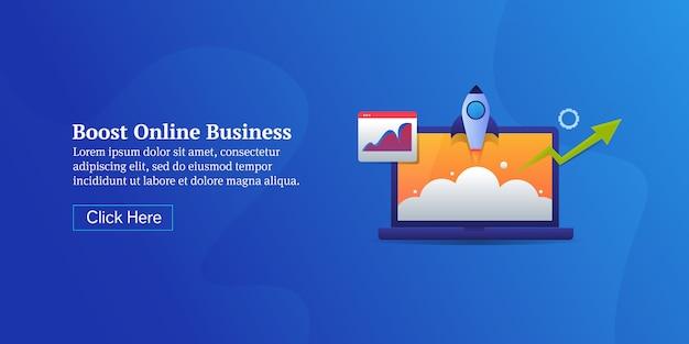 Booster la bannière de concept de démarrage d'entreprise en ligne