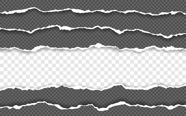 Bord de papier déchiré horizontal. bandes de papier horizontales carrées déchirées.