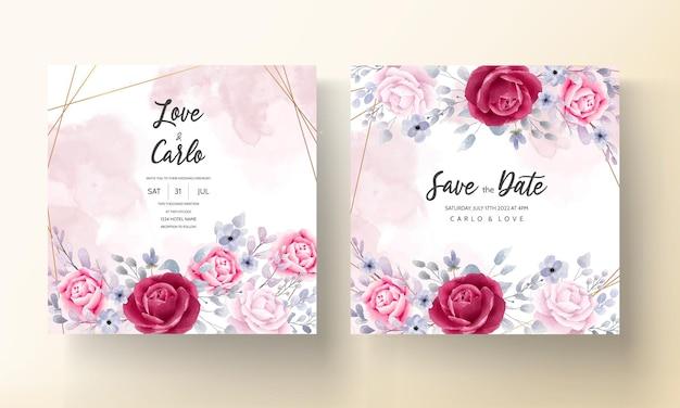 Bordeaux élégant une carte d'invitation de mariage aquarelle floral violet