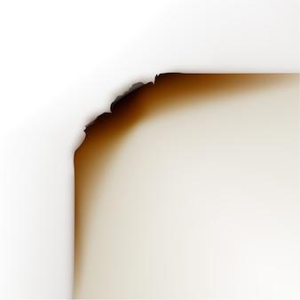 Bords de papier brûlé close up vue de dessus isolé sur fond blanc