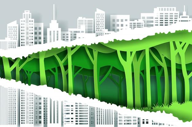 Bords de papier déchiré pour le capital et la forêt écologique verte, sauvez le monde et le concept d'énergie verte.