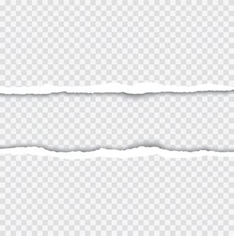 Bords de papier déchirés réalistes avec ombre sur transparent