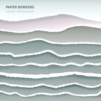 Bords de papier récoltés déchirés réalistes multicouches horizontales sans soudure bordure décorative éléments collection géométrique