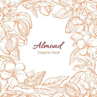 Bordure d'amande botanique branche réaliste feuille fleur en fleur illustration florale dessinée à la main