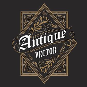 Bordure antique cadre occidental étiquette vintage dessiné à la main typographie rétro illustration