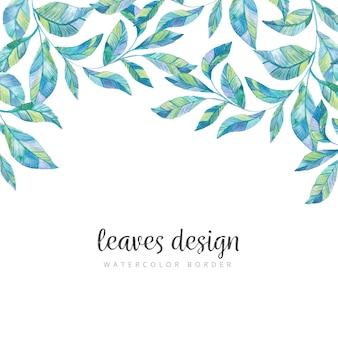 Bordure aquarelle de feuilles sauvages