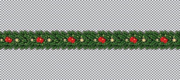 Bordure avec branches d'arbres de noël, arc rouge et étoiles dorées