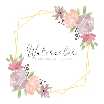 Bordure de cadre aquarelle floral peint à la main avec illustration de pétale de pivoine rose