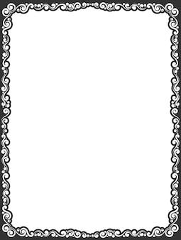 Bordure de cadre décoratif ornemental noir simple de vecteur