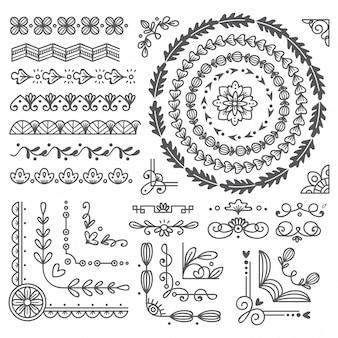 Bordure et cadre dessinés à la main, élément de conception de carte de mariage
