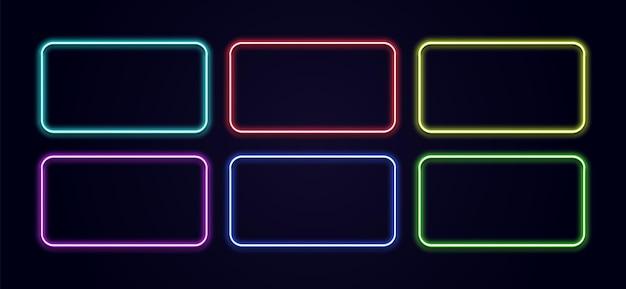 Bordure de cadre de lueur rectangle au néon rectangle brillant sur le mur vecteur lampe à lumière bleue en forme de néon d lumino...