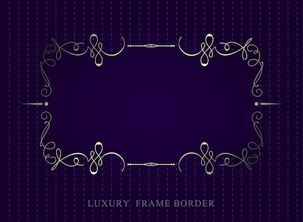 Bordure de cadre de luxe calligraphique or sur fond violet