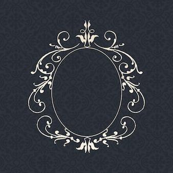 Bordure de cadre ovale en filigrane