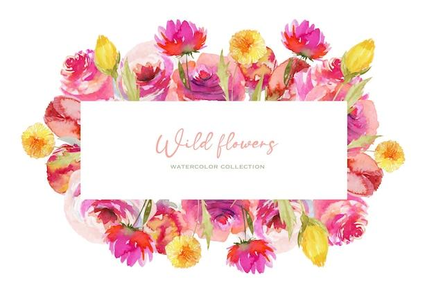 Bordure de cadre de roses aquarelles et de fleurs de pissenlit