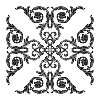 Bordure et cadre de style baroque. couleur noir et blanc. décoration de gravure florale