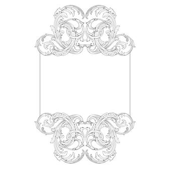 Bordure et cadre de style baroque. éléments d'ornement pour votre conception. couleur noir et blanc. décoration de gravure florale