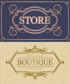 Bordure calligraphique de magasin et de boutique