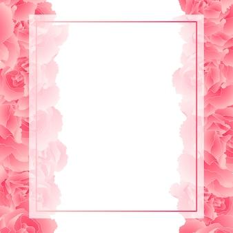 Bordure de carte de fleur de carnation rose