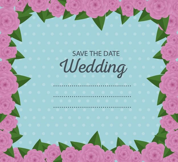 Bordure de carte de mariage avec décoration de fleurs et feuilles