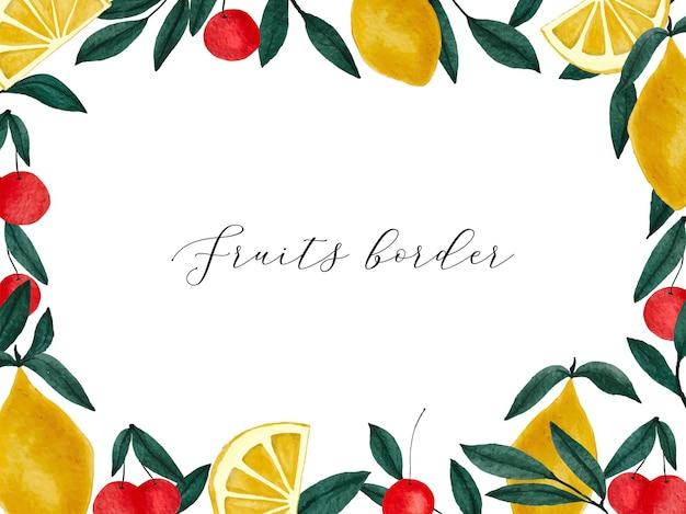 Bordure de cerises et de citrons aquarelle peinte à la main