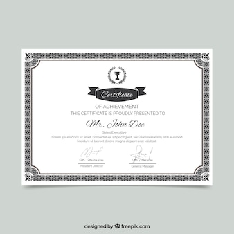 Bordure de certificat avec ornement
