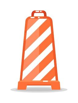 Bordure de cône de signalisation rayé isolée