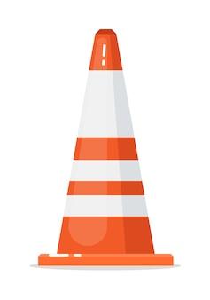 Bordure de cône de trafic routier vecteur isolé