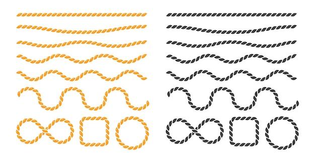 Bordure de corde nautique noire se balançant.