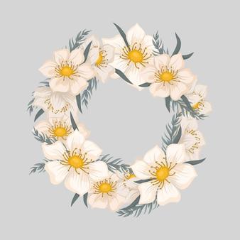 Bordure de couronne florale avec de jolies fleurs