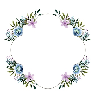 Bordure de décoration aquarelle fleurs mignonnes