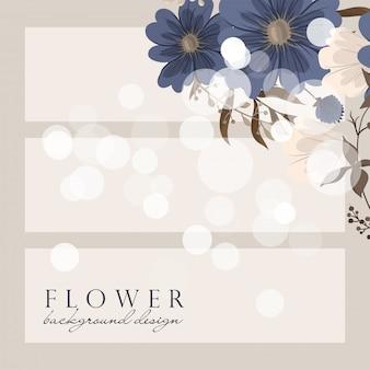 Bordure de dessins de fleurs - fleurs bleues