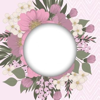 Bordure de dessins de fleurs - fleurs roses