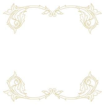 Bordure dorée et cadre de style baroque. éléments d'ornement
