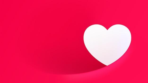 Bordure d'espace blanc en forme de coeur sur fond rouge
