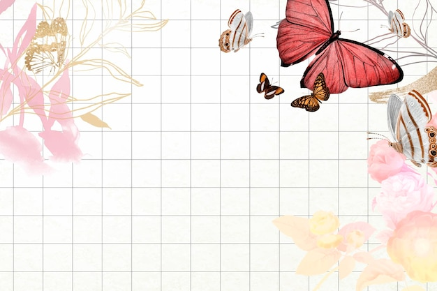 Bordure esthétique de fond de papillon avec le vecteur de fleurs, remixé à partir d'images du domaine public vintage