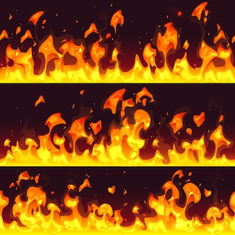 Bordure de feu de beau dessin animé